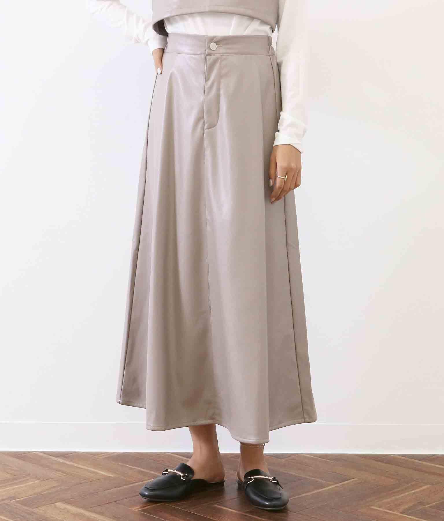 レザー風フレアロングスカート