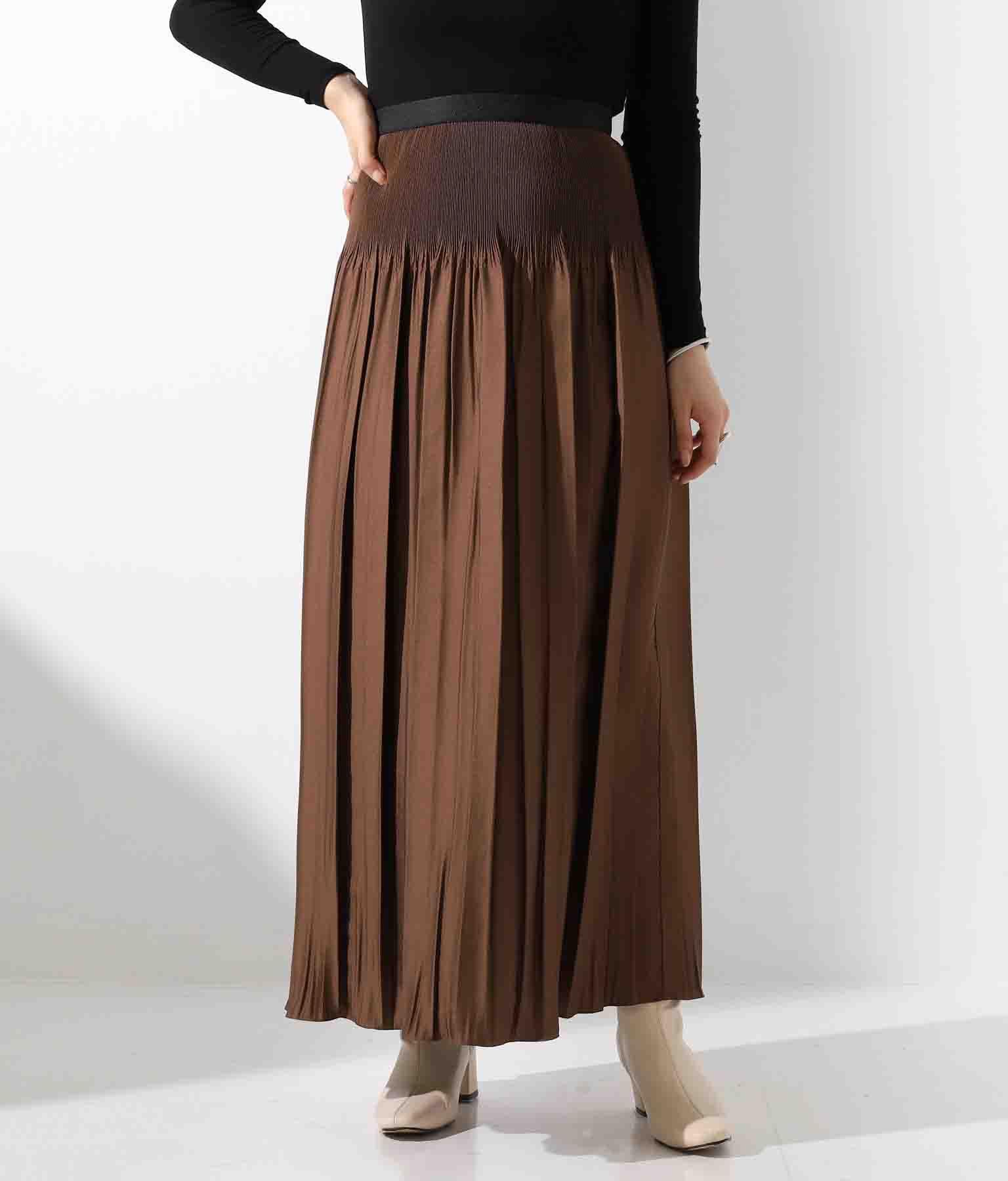 DollySeanジャガード細プリーツスカート