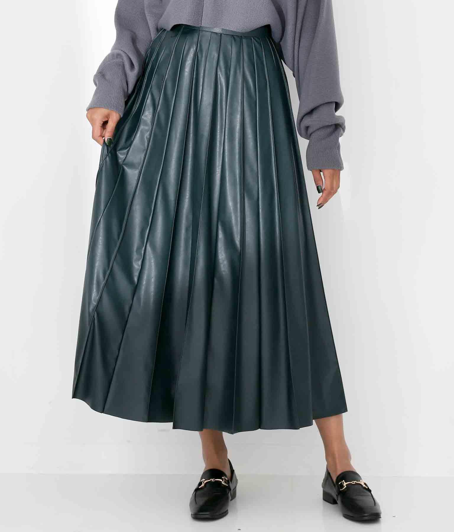 DONEEYUエコレザーピンタックロングスカート
