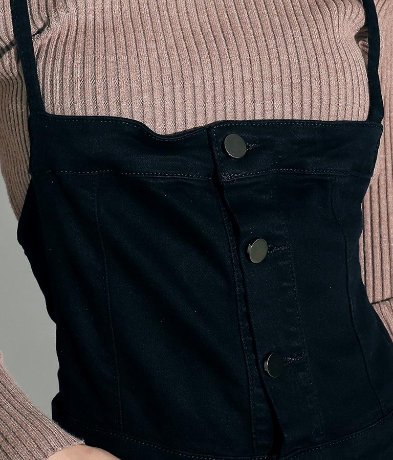 バックデザインブラックサロペット(ワンピース・ドレス/サロペット/オールインワン) | ANAP