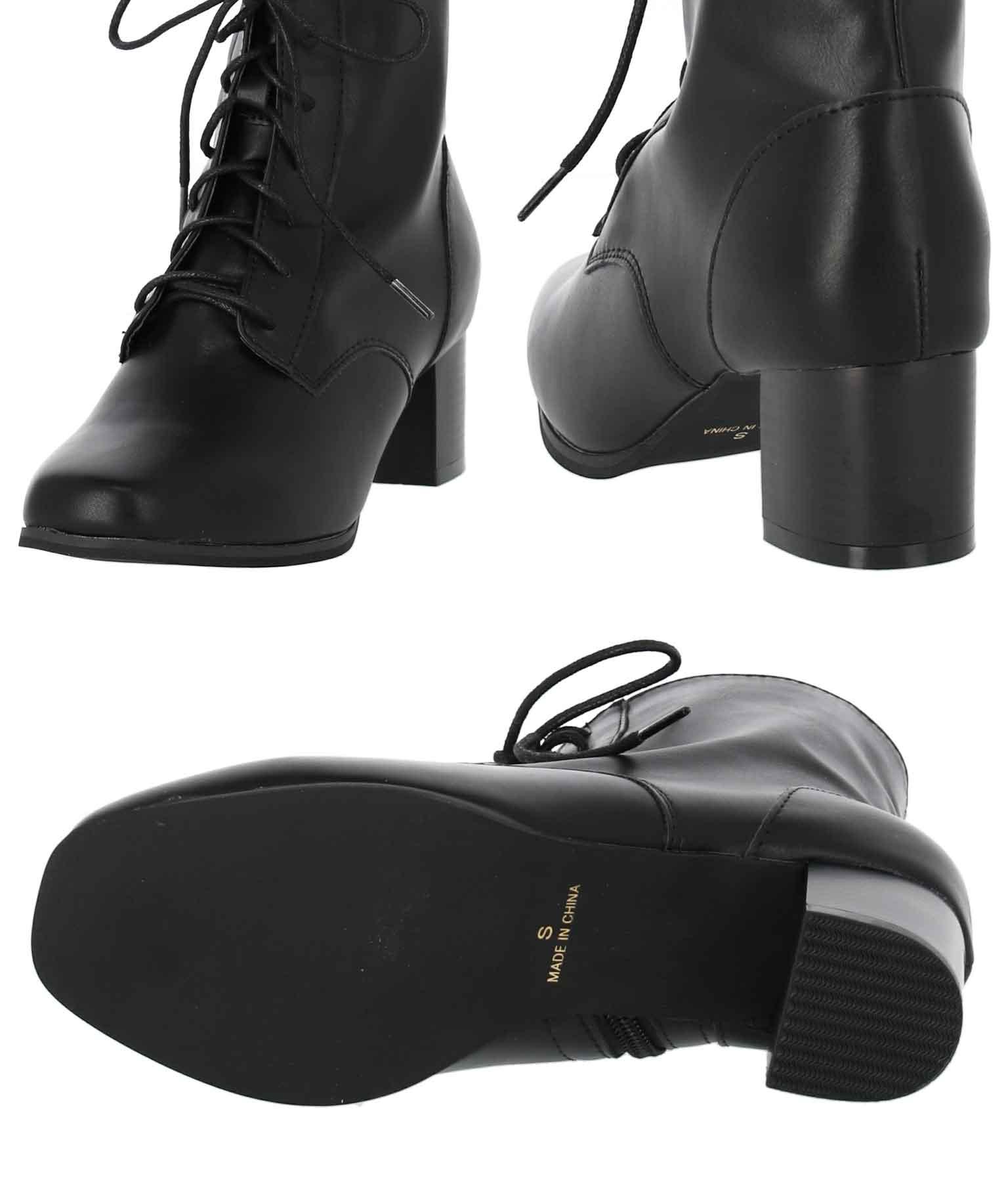 レースアップスクエアトゥブーツ(シューズ・靴/ブーツ) | CHILLE