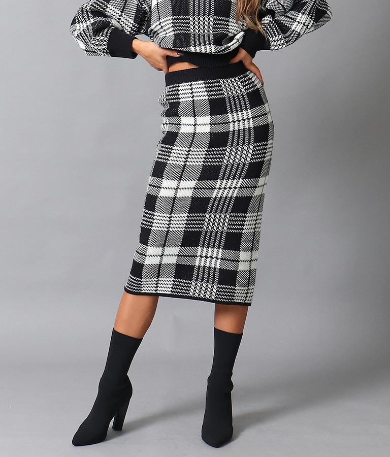 anap Latina チェック柄セミロングニットスカート