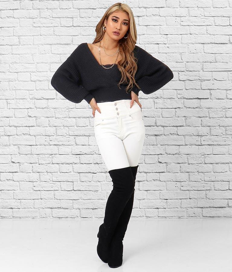 カシュクールニットクロップドトップス(トップス/ニット/セーター) | anap Latina