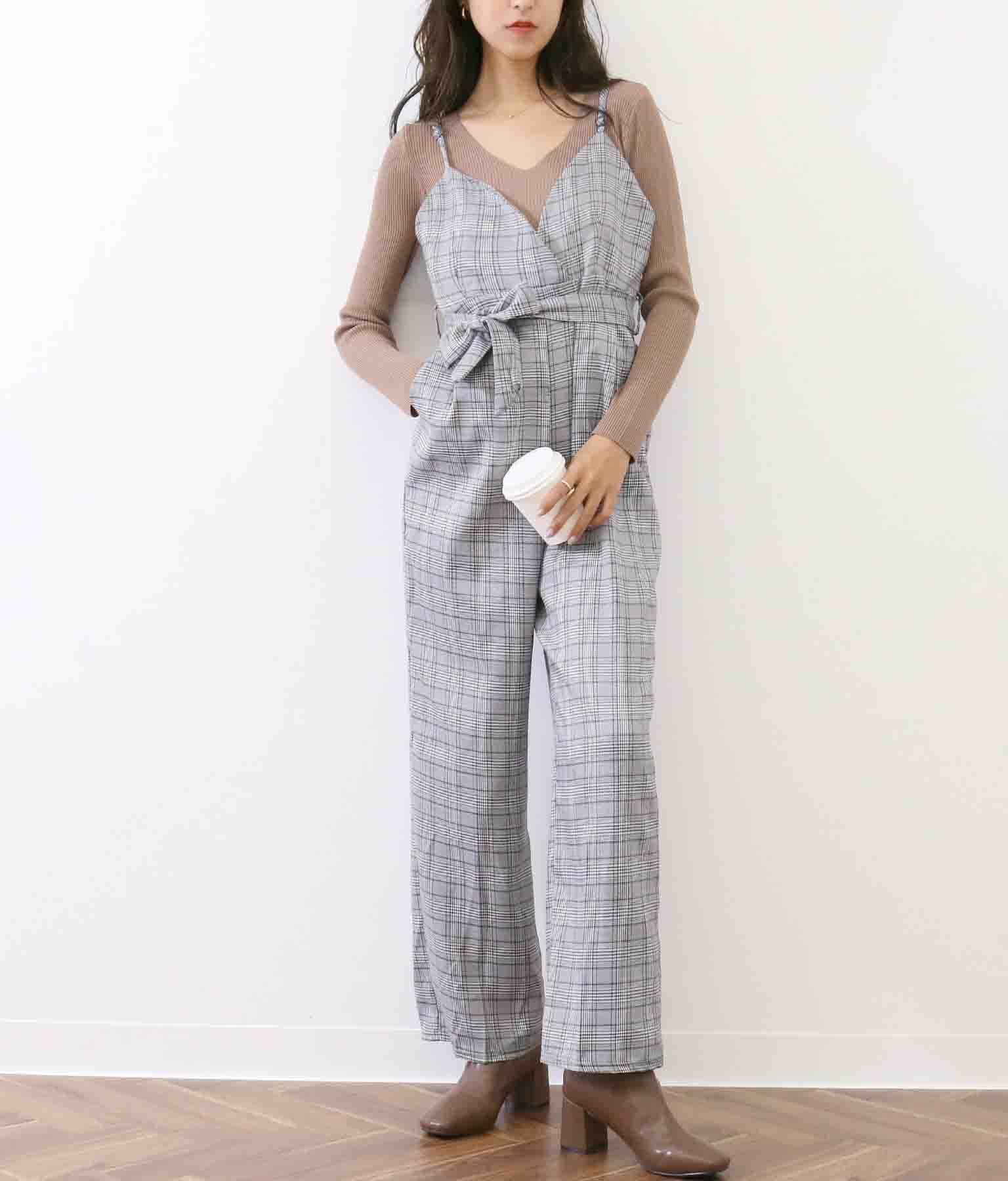 カラーグレンチェックキャミソールオールインワン(ワンピース・ドレス/サロペット/オールインワン)   CHILLE