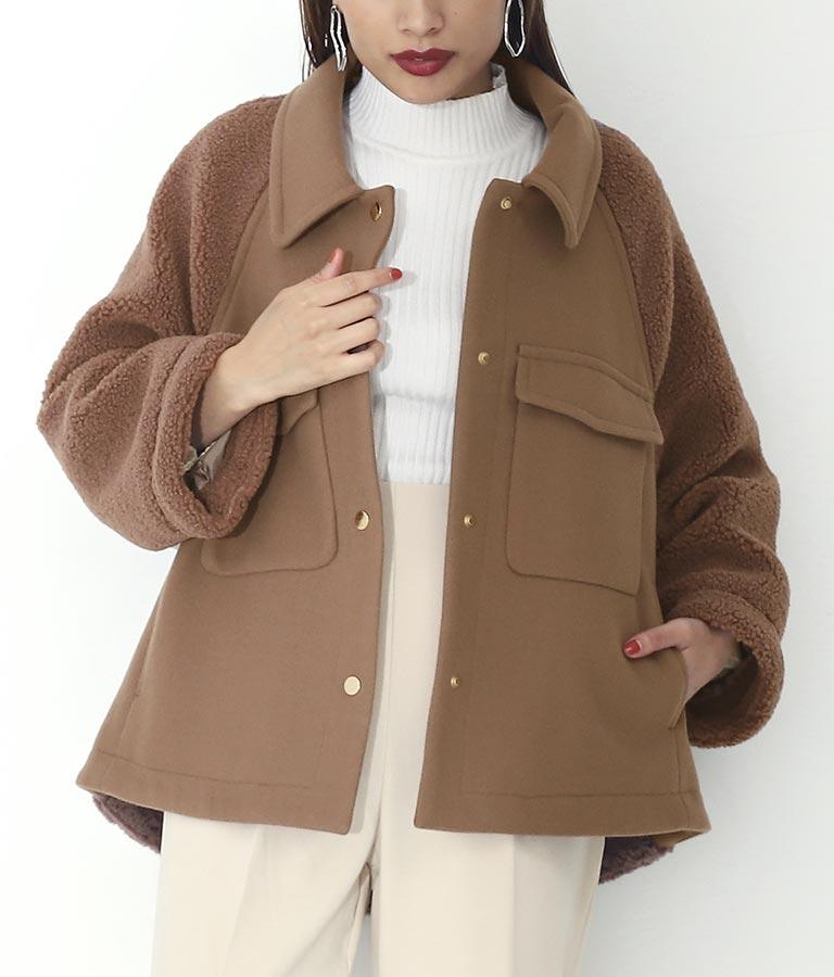 ウール混ボア切替デザインジャケット
