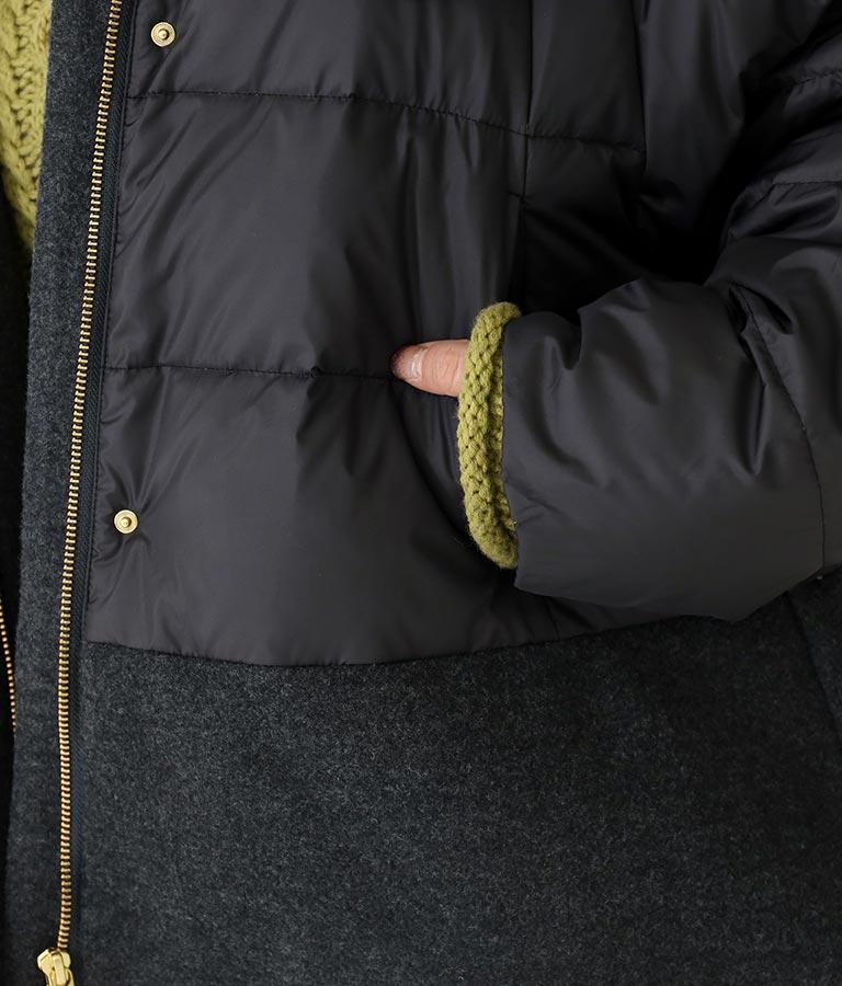 ウール混×タフタ切替フードダウンジャケット(アウター(コート・ジャケット) /ジャケット・ブルゾン) | Settimissimo