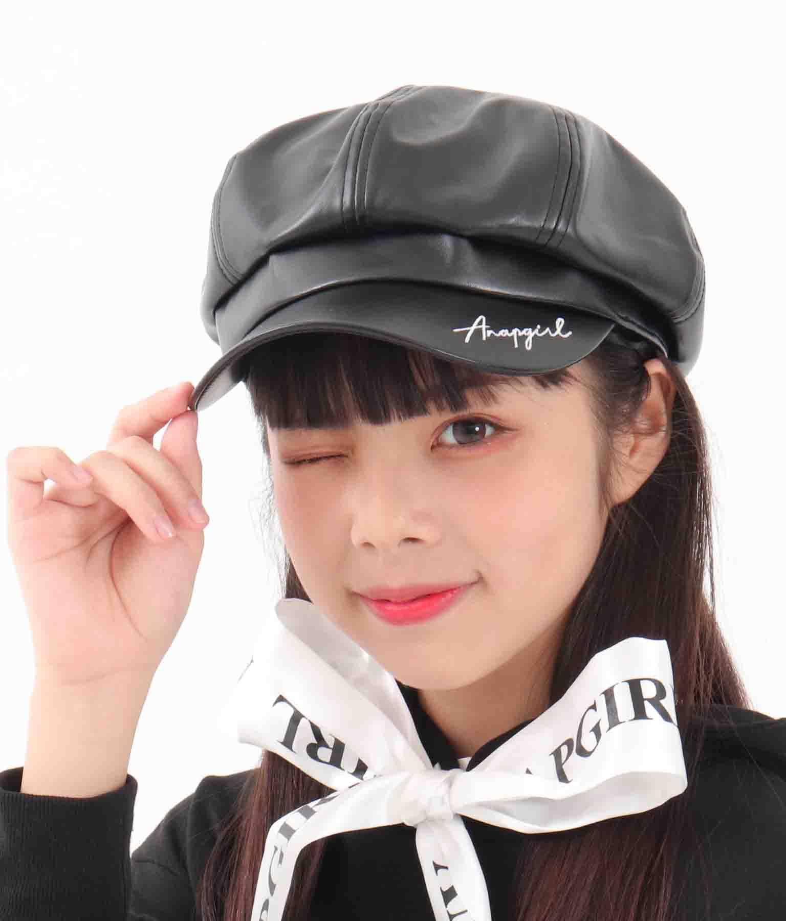 刺繍入合皮キャスケット(ファッション雑貨/ハット・キャップ・ニット帽 ・キャスケット・ベレー帽) | ANAP GiRL