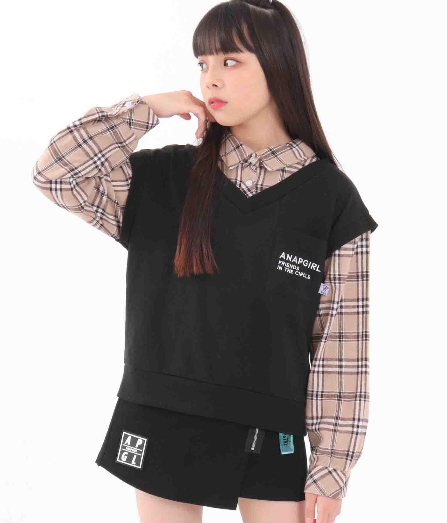 フェイクレイヤードベストシャツ(トップス/カットソー ) | ANAP GiRL