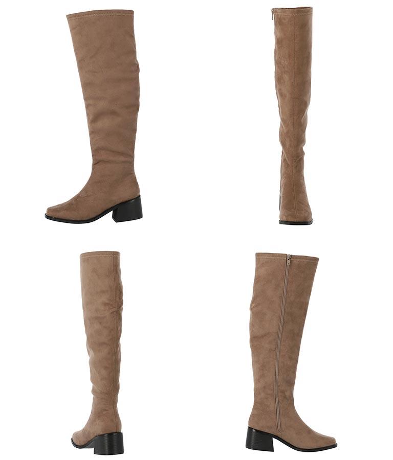 スエードタッチローヒールニーハイブーツ(シューズ・靴/ブーツ) | Settimissimo