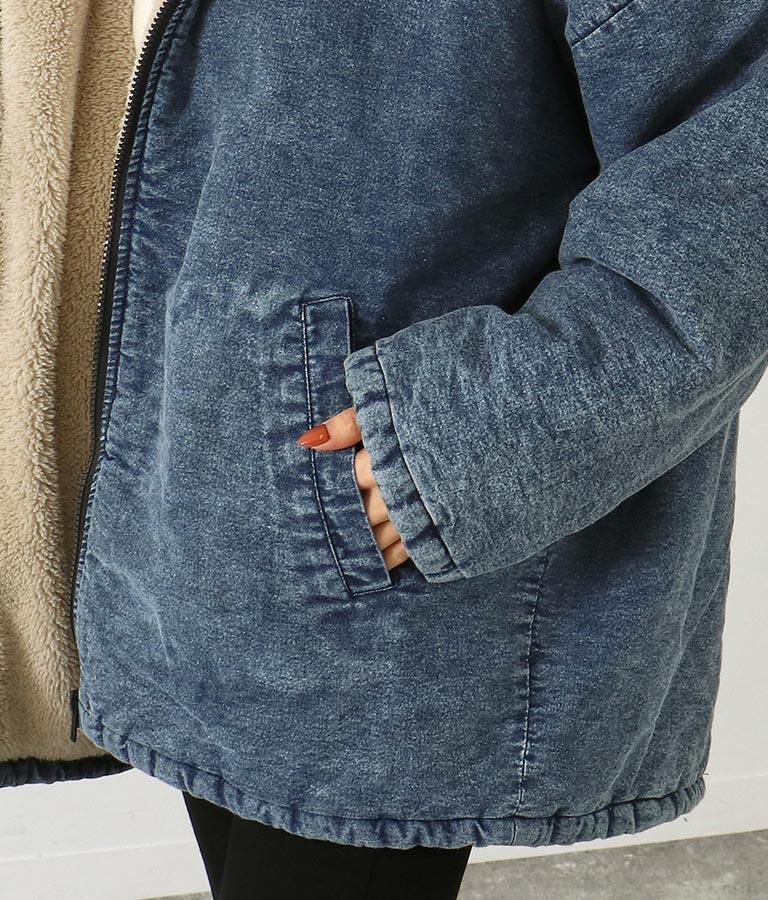 デニムボアオーバーサイズフーディージャケット(アウター(コート・ジャケット) /ボアジャケット) | ANAP