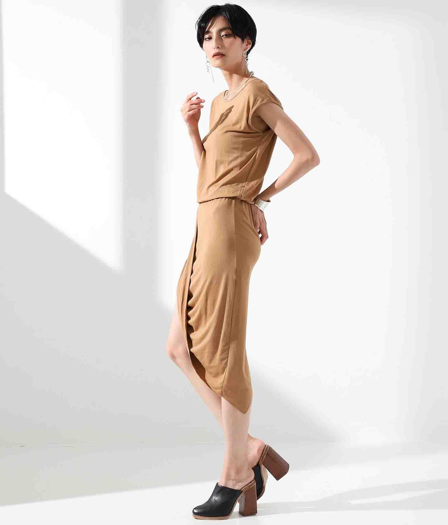アシンメトリードレープデザインワンピース(ワンピース・ドレス/ミディアムワンピ・ミニワンピ) | Settimissimo