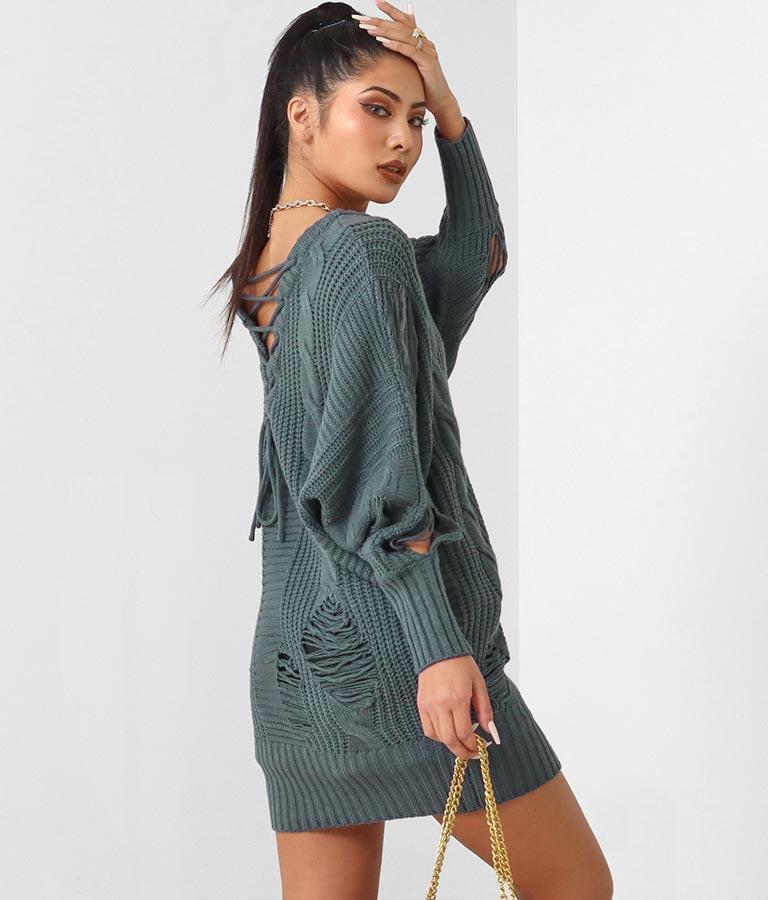 バックレースアップダメージニットワンピース(ワンピース・ドレス/ミディアムワンピ・ミニワンピ) | anap Latina