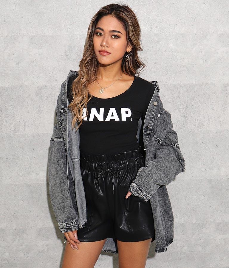 ANAP ANAPロゴフィットロングTシャツ