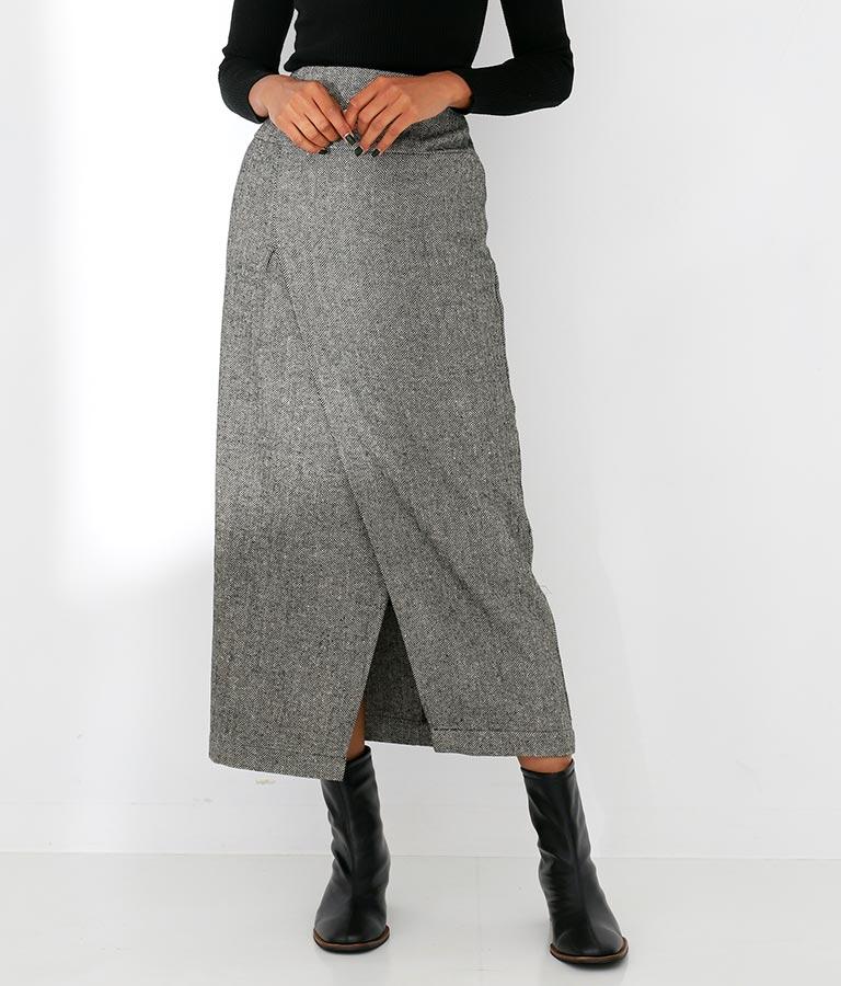 Settimissimo ヘリンボーンラップ風デザインストレートスカート