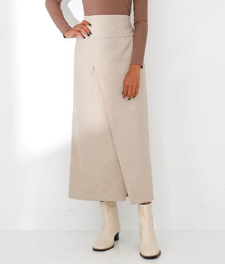 ヘリンボーンラップ風デザインストレートスカート