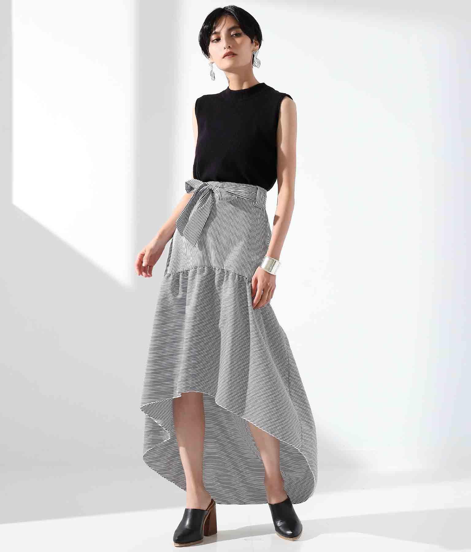 ストライプxボーダー切替デサインテールカットスカート(ボトムス・パンツ /スカート) | Settimissimo