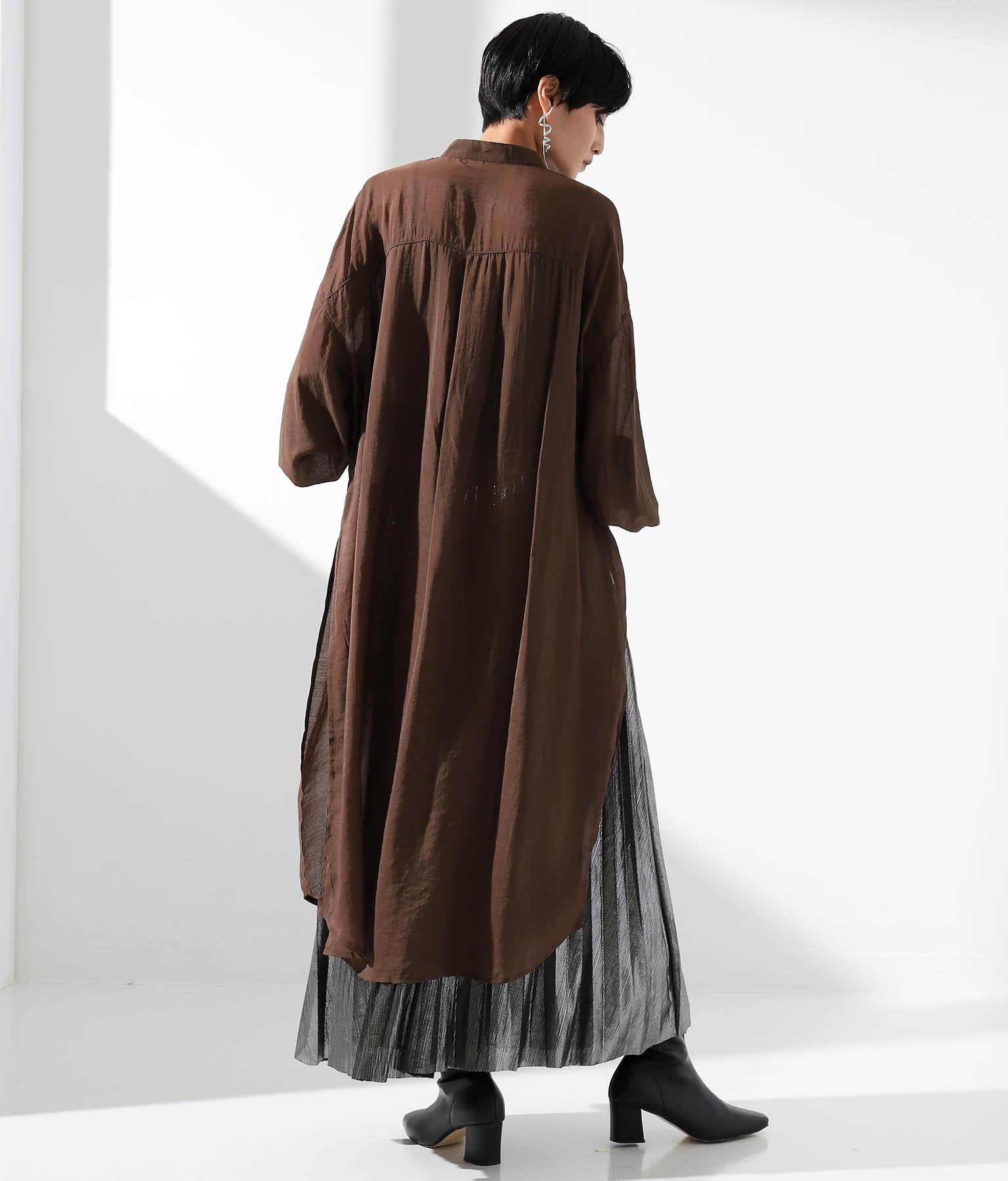 シアーバンドカラーシャツワンピース(ワンピース・ドレス/ロングワンピ) | Settimissimo