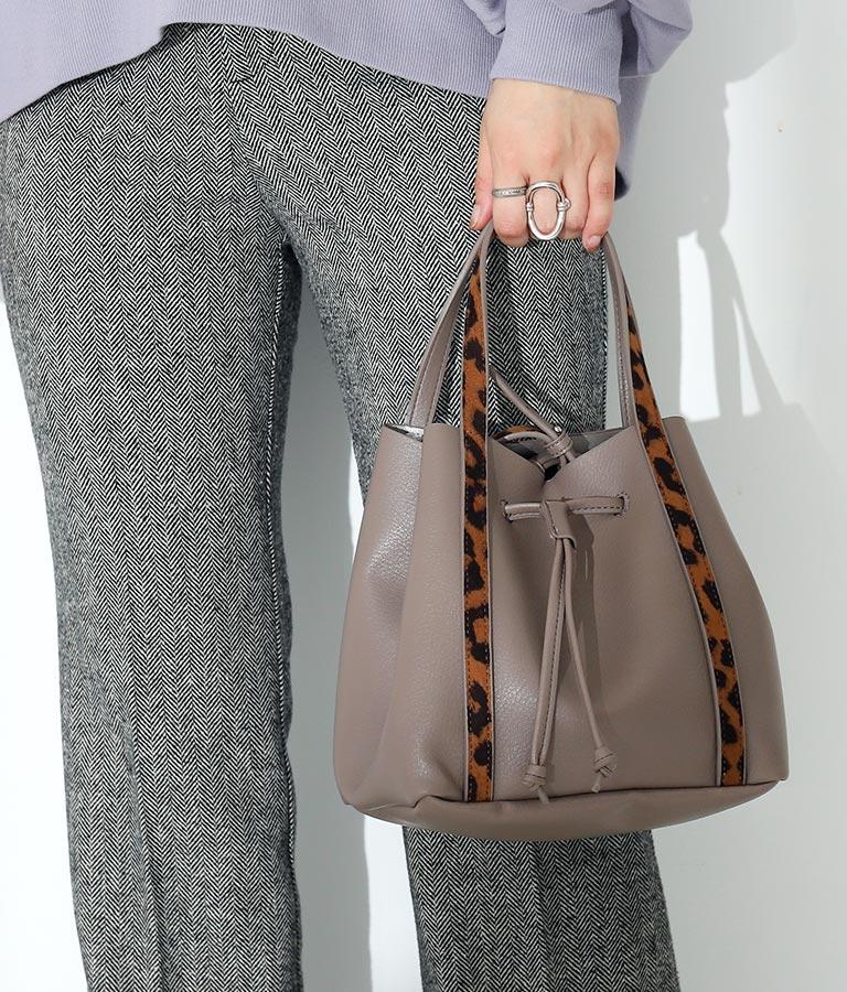 レオパードパイピングデザインバッグ