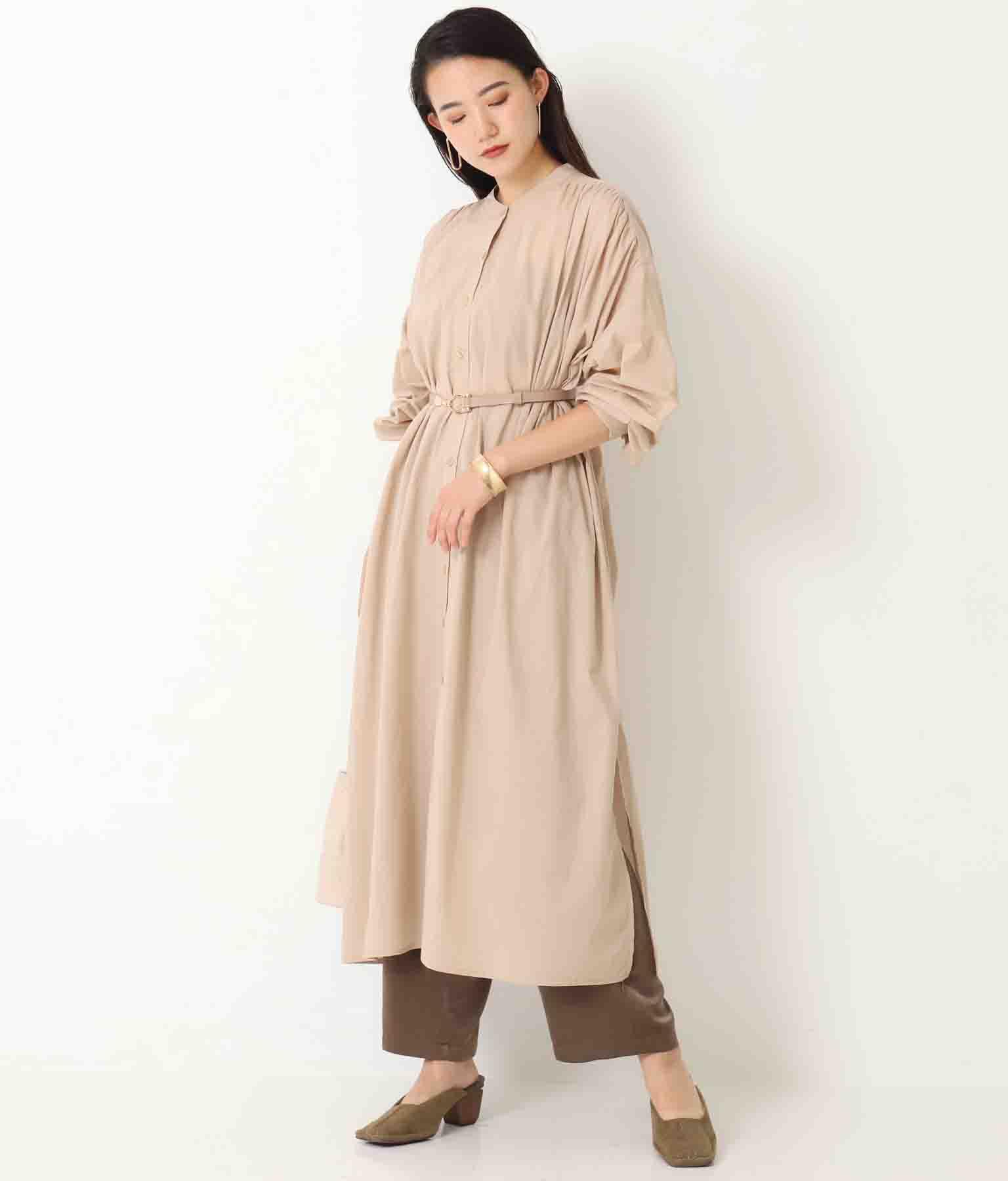 ギャザーシャツワンピース(ワンピース・ドレス/ロングワンピ)   Alluge