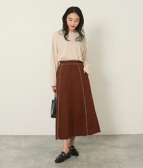 フロント釦パイピングスカート(ボトムス・パンツ /スカート) | AULI