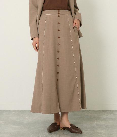 フロント釦パイピングスカート