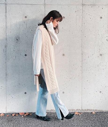 ロングニットベスト付ワンピース(ワンピース・ドレス/マキシ丈ワンピース) | AULI