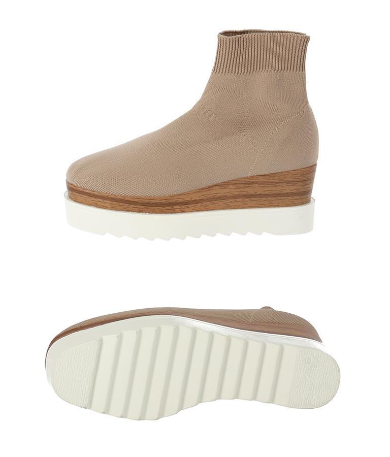 ニットソックス配色ソールブーツ(シューズ・靴/ブーツ・厚底ブーツ) | CHILLE