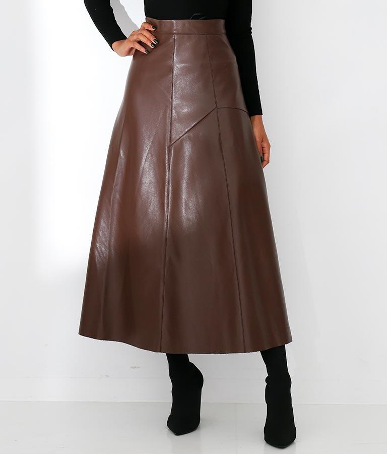 エコレザーフロントタックデザインフレアロングスカート