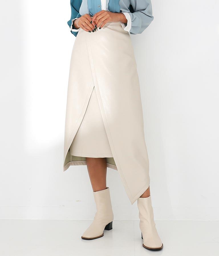エコレザーアシンメトリーレイヤードナロースカート
