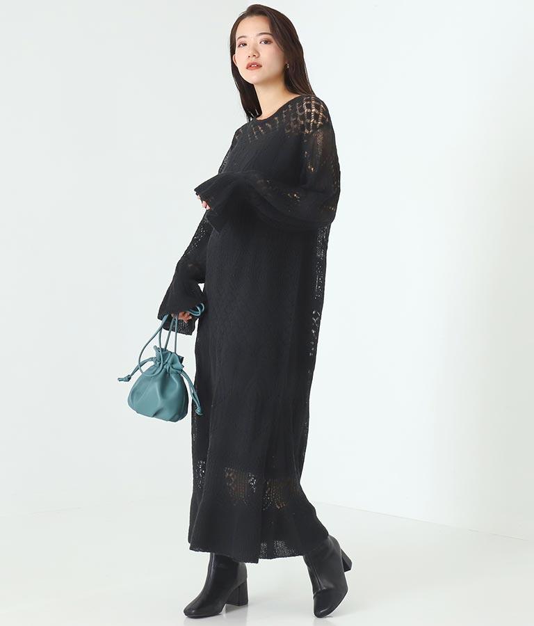 透かし柄フレアドレス(ワンピース・ドレス/ロングワンピ)   Alluge