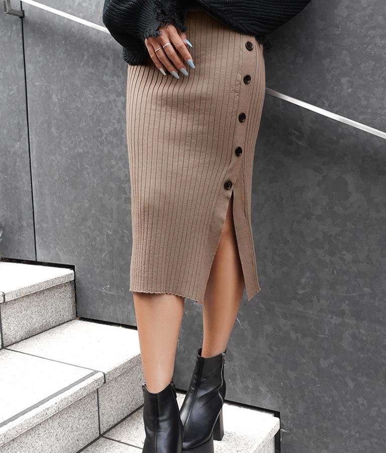 ボタン付きリブニットスカート