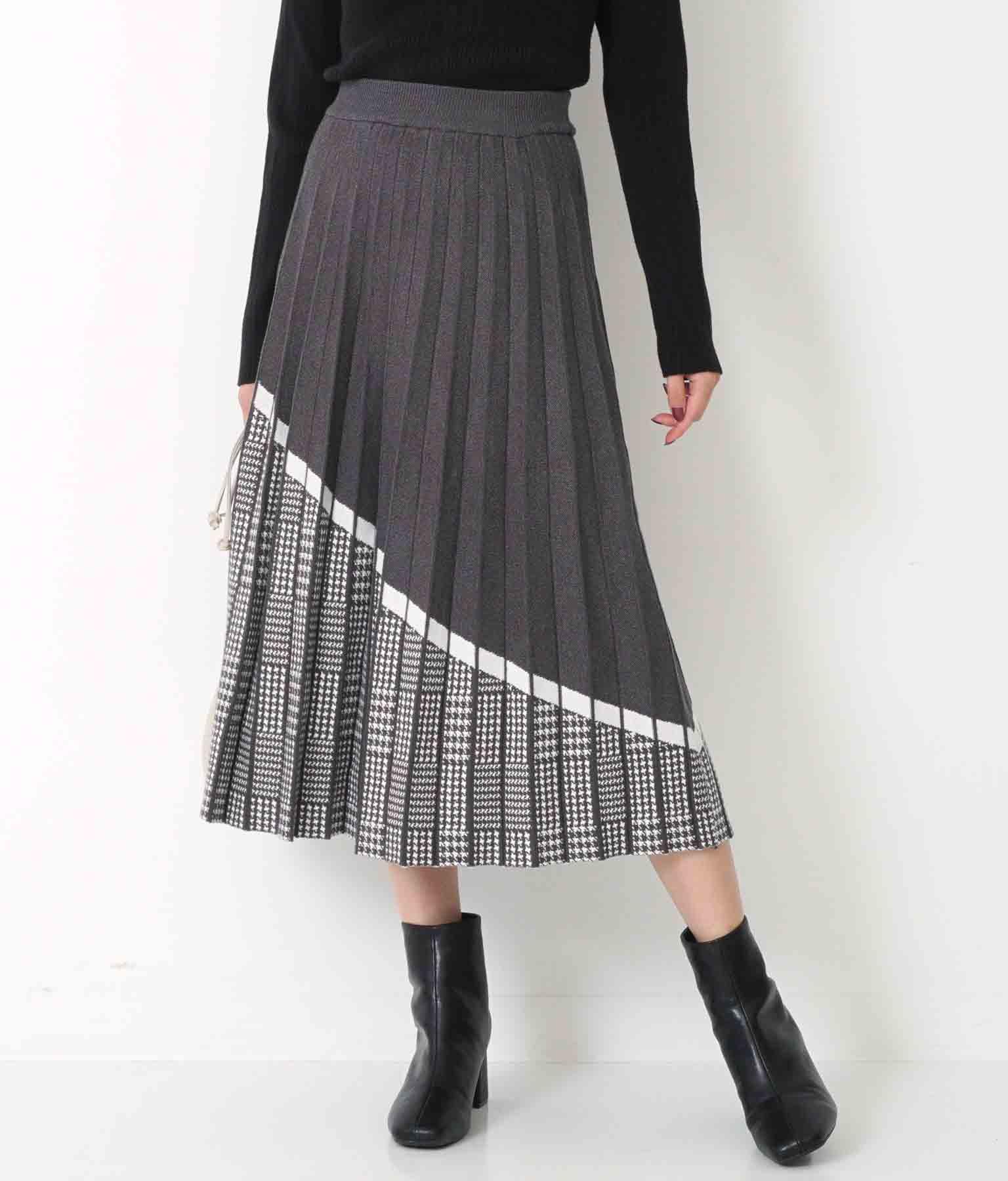 Alluge グレンチェック切り替えニットスカート