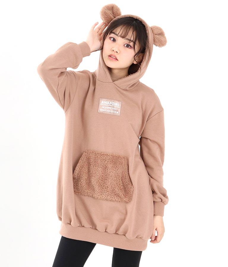 クマミミフーディーワンピース(ワンピース・ドレス/ミディアムワンピ) | ANAP GiRL