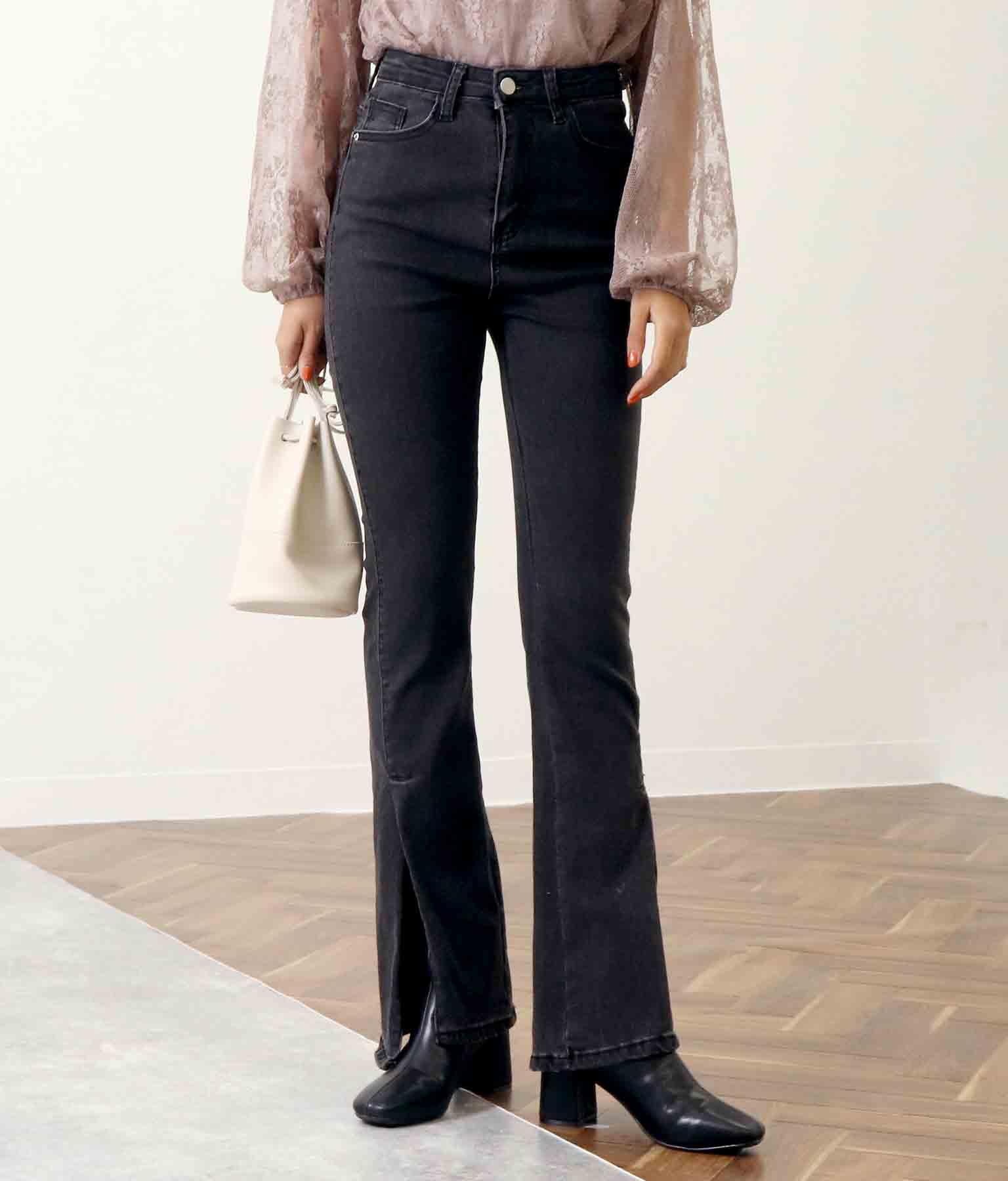 裾イレギュラーカットストレッチデニムパンツ(ボトムス・パンツ /ロングパンツ) | CHILLE