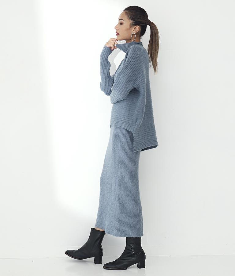 ボトルネック変形編みタイトスカートセットアップ(ボトムス・パンツ /ニットスカート・スカート) | Settimissimo
