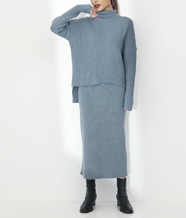 ボトルネック変形編みタイトスカートセットアップ
