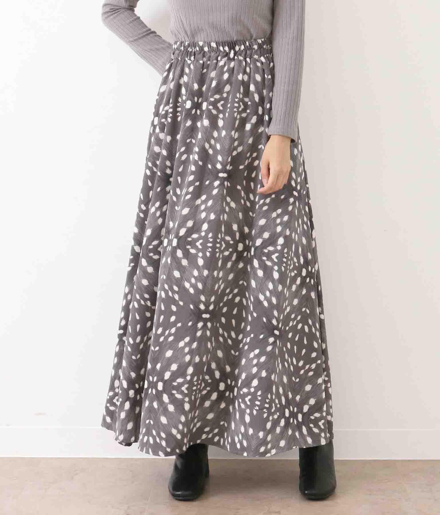 くすみアニマル柄ロングスカート