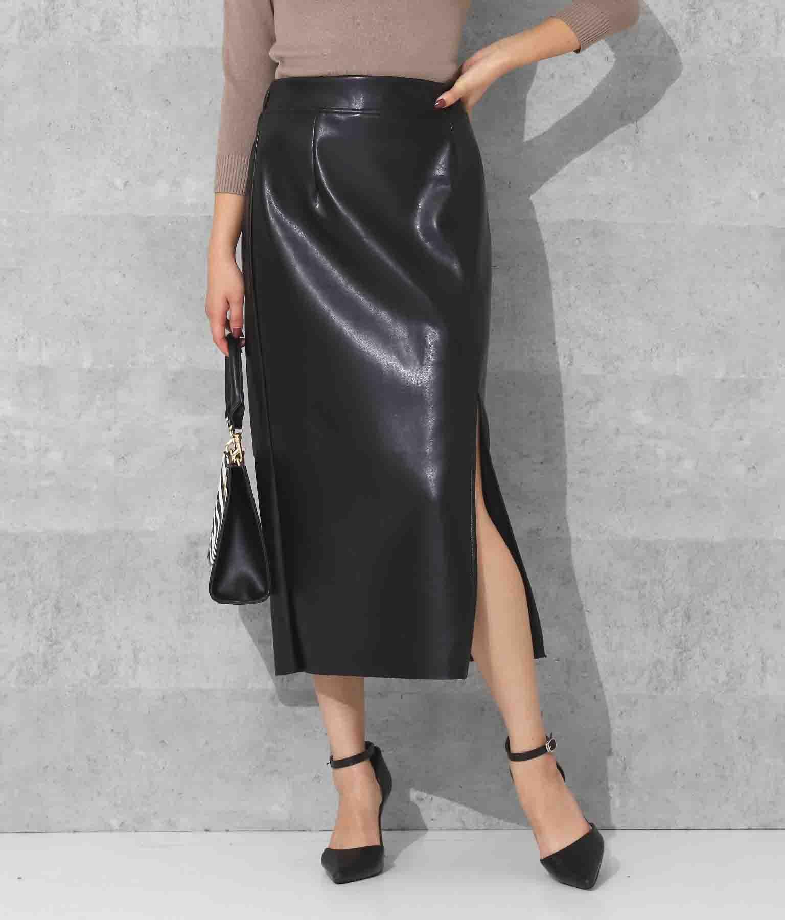 anap Latina レザータッチフロントスリットナロースカート