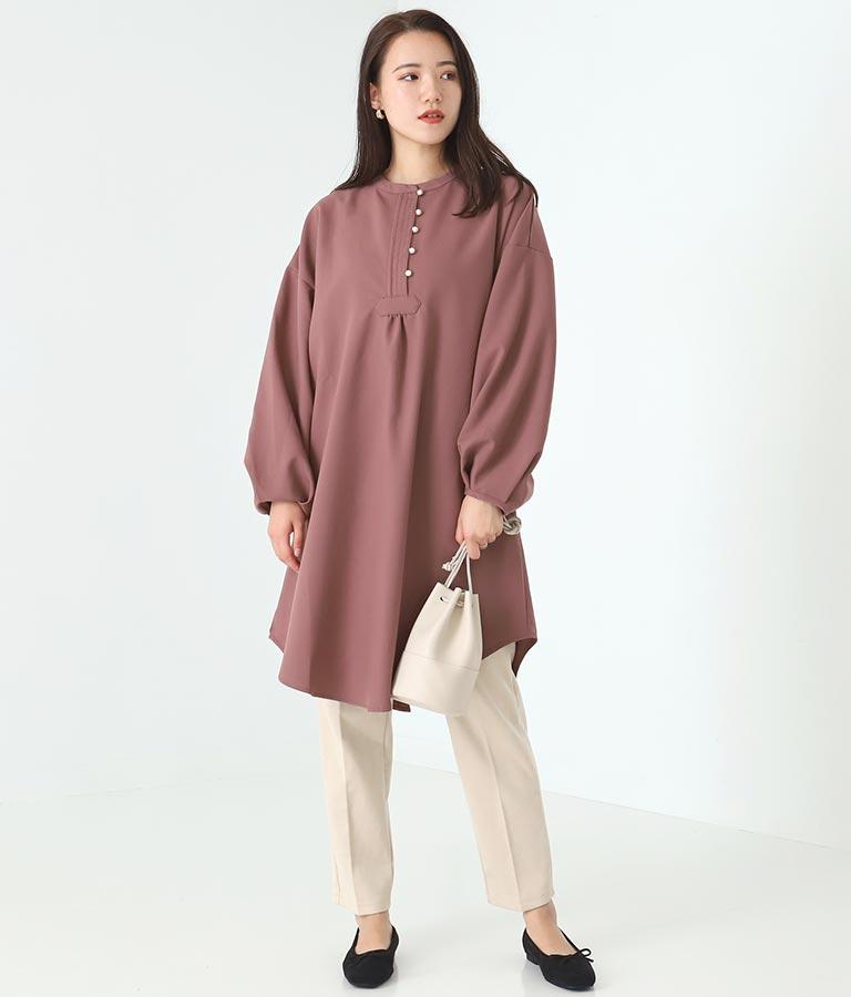 パールボタンバックリボンワンピース(ワンピース・ドレス/ミディアムワンピ) | Alluge