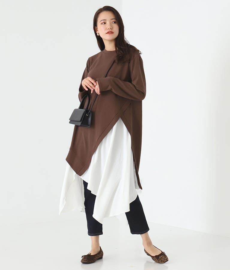 ダンボールニット異素材切替ワンピース(ワンピース・ドレス/ロングワンピ) | Alluge
