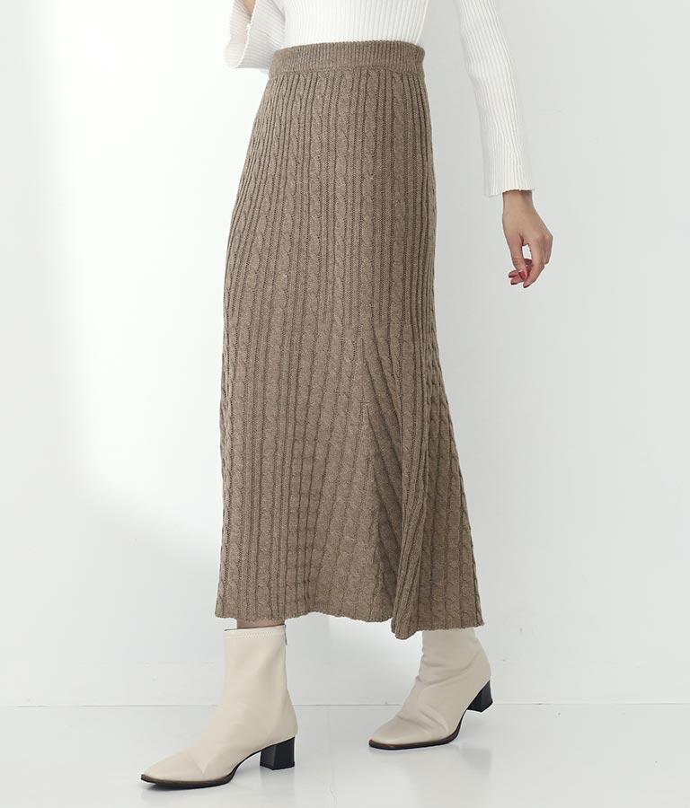 ケーブル編みフレアロングスカート(ボトムス・パンツ /ニットスカート・スカート) | Settimissimo