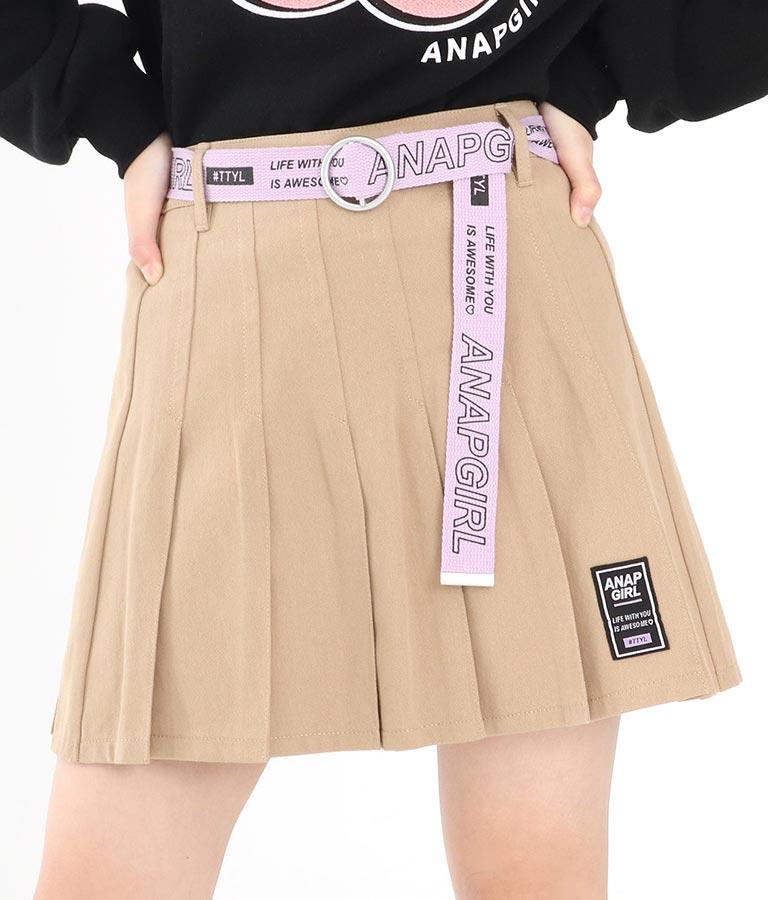 ベルト付プリーツインパンツスカート