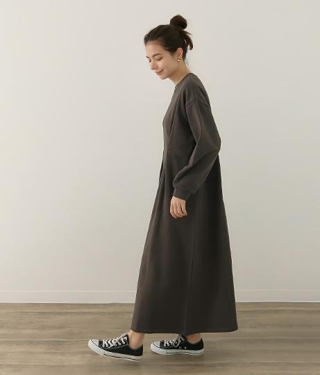 ロゴ刺繍ウエストタックスウェットワンピース(ワンピース・ドレス/ロングワンピ) | Factor=