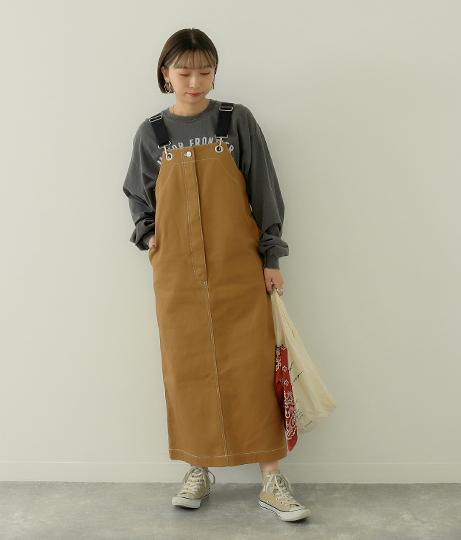 コットンテープサロペットスカート(ワンピース・ドレス/マキシ丈ワンピース・サロペット/オールインワン) | Factor=