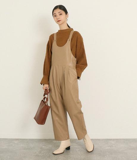 フェイクレザーサロペット(ワンピース・ドレス/サロペット/オールインワン) | AULI
