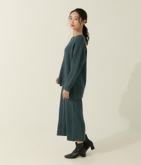 ワッフル編ニットセットアップ(ワンピース・ドレス/ロングワンピ・マキシ丈ワンピース) | AULI