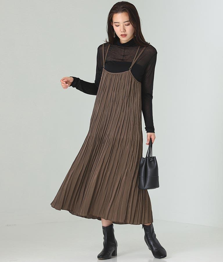 ビンテージサテンランダムプリーツスカート