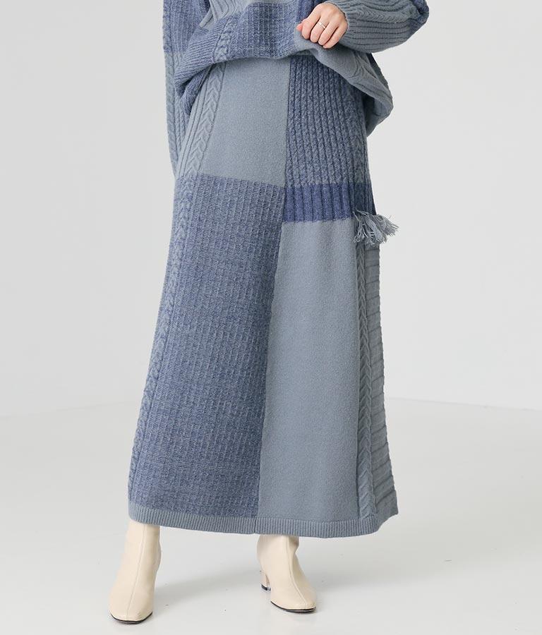 パッチワークニットロングスカート(ボトムス・パンツ /スカート) | Alluge