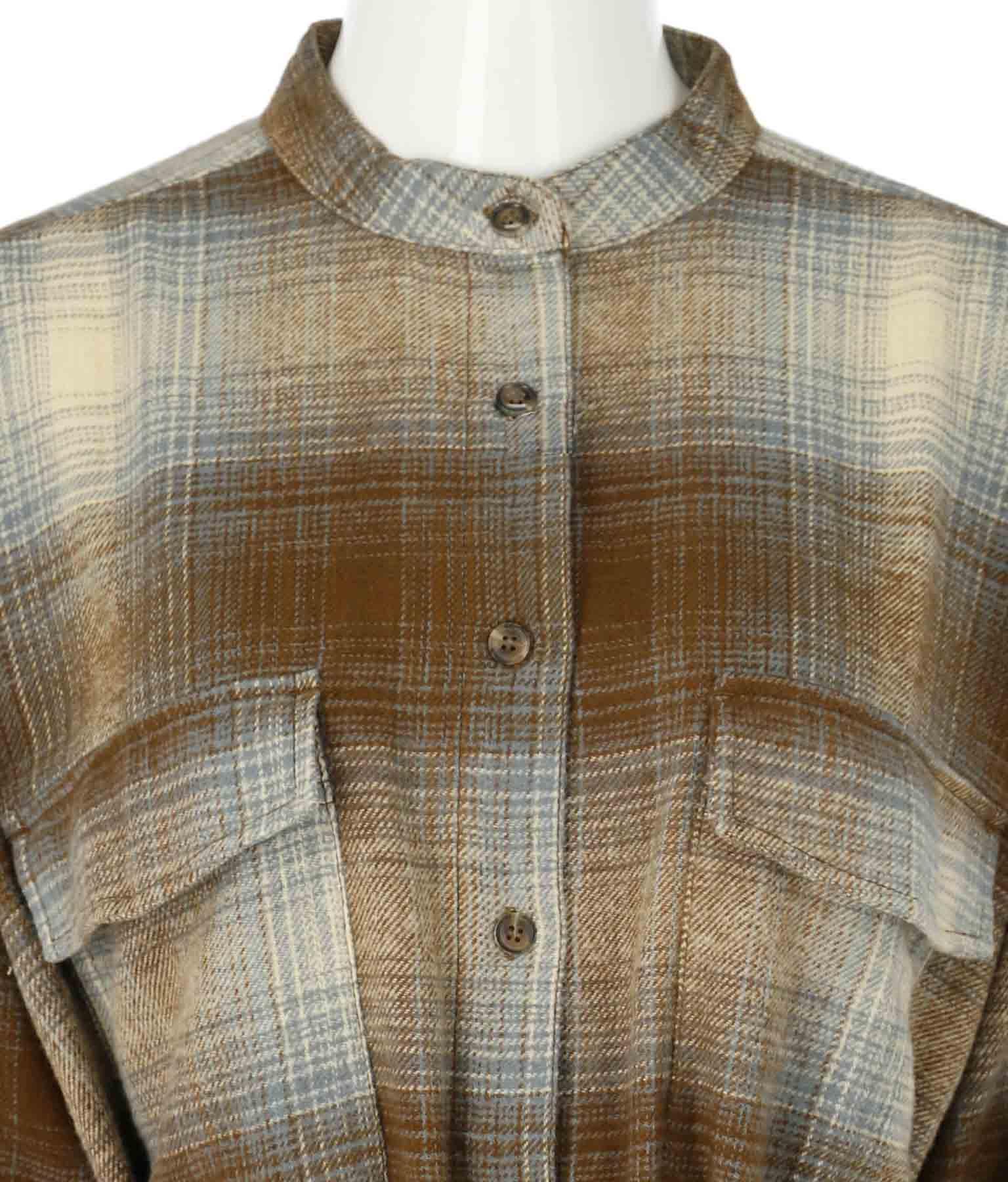 コットンツイル起毛チェックシャツチュニック(トップス/チェックシャツ・シャツ・ブラウス)   Alluge
