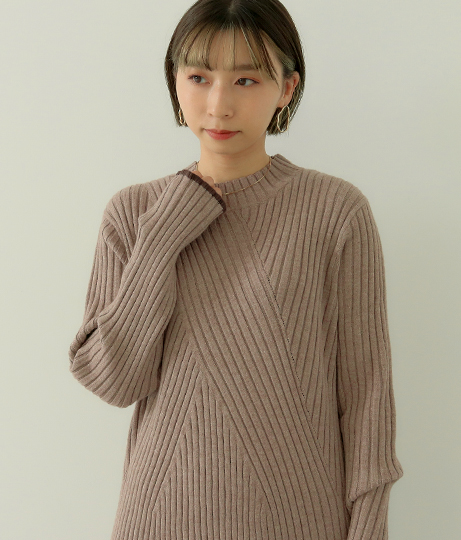 トリミングリブニットワンピース(ワンピース・ドレス/ミディアムワンピ) | Factor=
